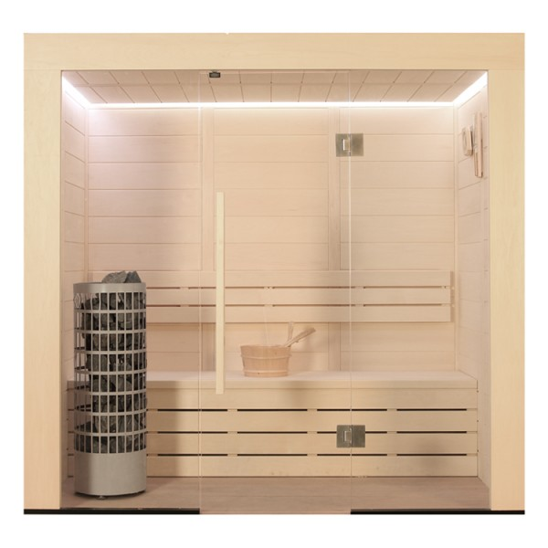 Pappelholz-Sauna E1203C Cilindro 142 x 103 6.8 kW