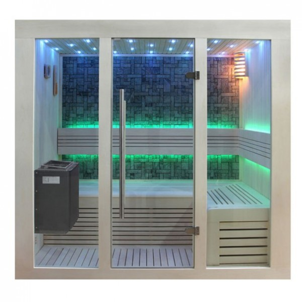 AWT BiO-Serie Pappelholz-Sauna E1216 9kW EOS Bio Thermat